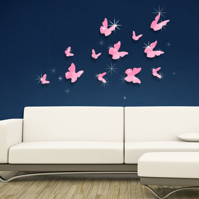 Image for 3D Butterfly Pink and Swarovski 2.9mm Clear Crystals Wall Sticker