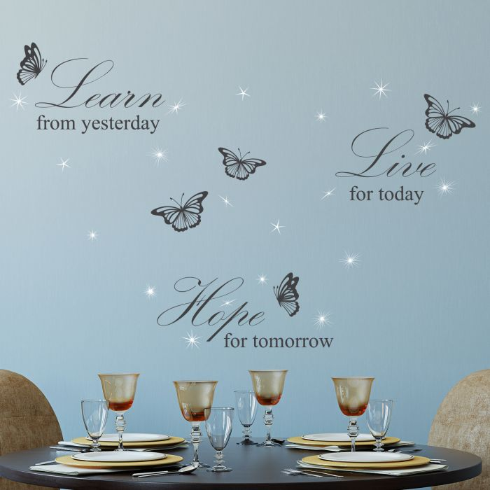 Image for Walplus Wall Sticker Grey Learn Live Hope English Quote Decals Art Decoration with Swarovski Crystals