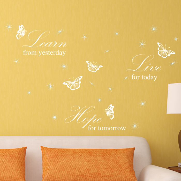 Image for Walplus Wall Sticker White  Learn Live Hope English Quote Decals Art Decoration with Swarovski Crystals
