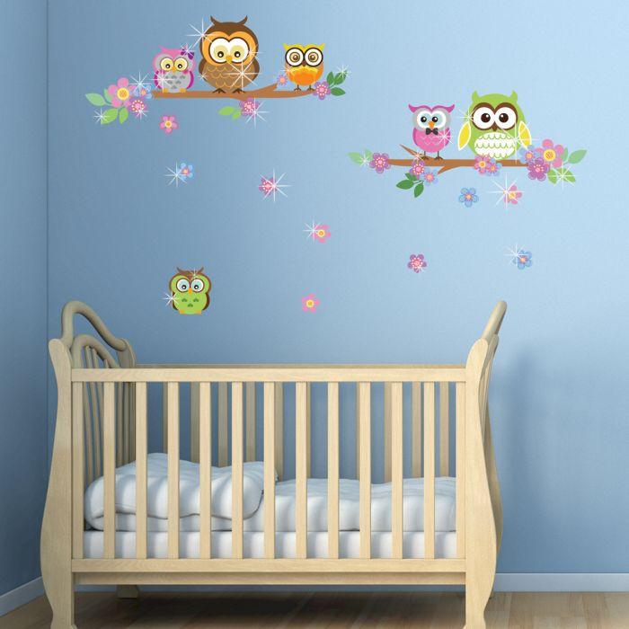 Image for Walplus Wall Sticker Owl Flower Tree with Swarovski Crystals