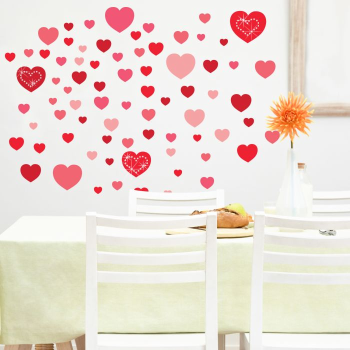 Image for Hearts and White Swarovski Hearts Wall Sticker