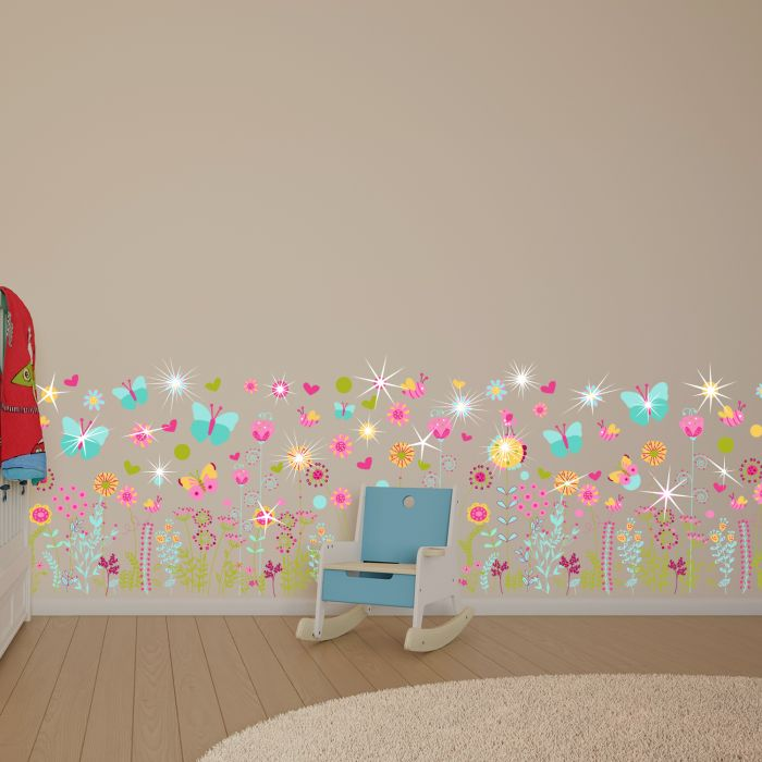 Image for Walplus Wall Sticker Colourful Butterflies with Flower Skirting Decoration with Swarovski Crystals