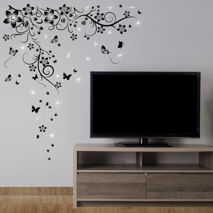 Image for Walplus Wall Sticker Decal Butterfly Vine with Swarovski Crystals