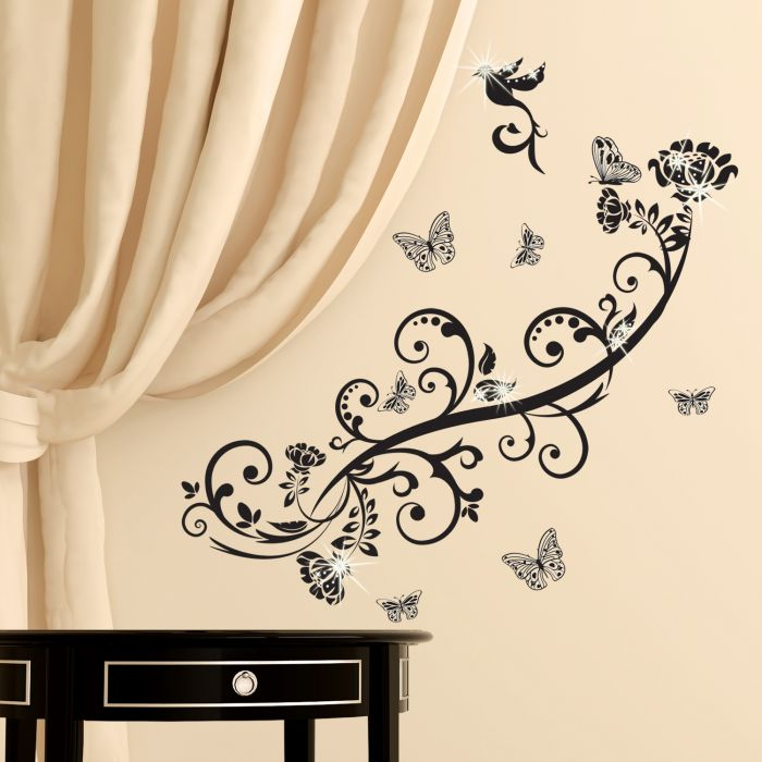 Image for Walplus Wall Sticker Decal Wall Art Butterfly Vine with Swarovski Crystals