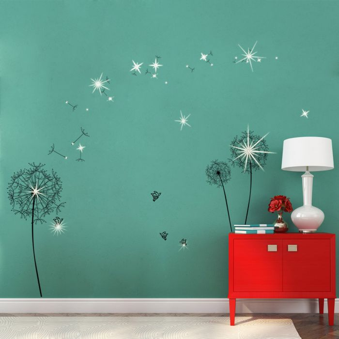 Image for Wall Sticker Huge Black Dandelion with Swarovski Crystals