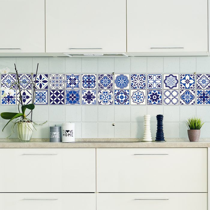 Image for Spanish and Moroccan Blue Tiles Wall Stickers Mix - 10 cm  x 10 cm - 24 pcs