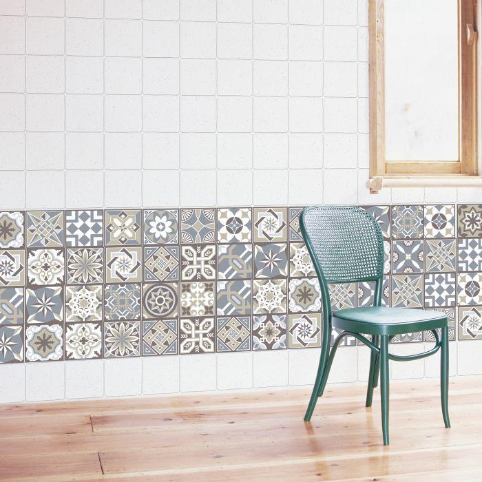 Image for Limestone Spanish Tiles Wall Stickers - 10 cm x 10 cm - 24 pcs