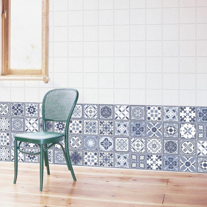Image for Lisbon Blue Tiles Wall Stickers - 10 cm x 10 cm - 24 pcs