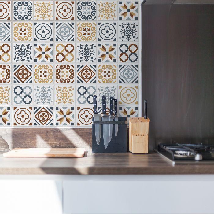 Image for Azulejo Tiles Wall Stickers - 10 cm x 10 cm - 24 pcs