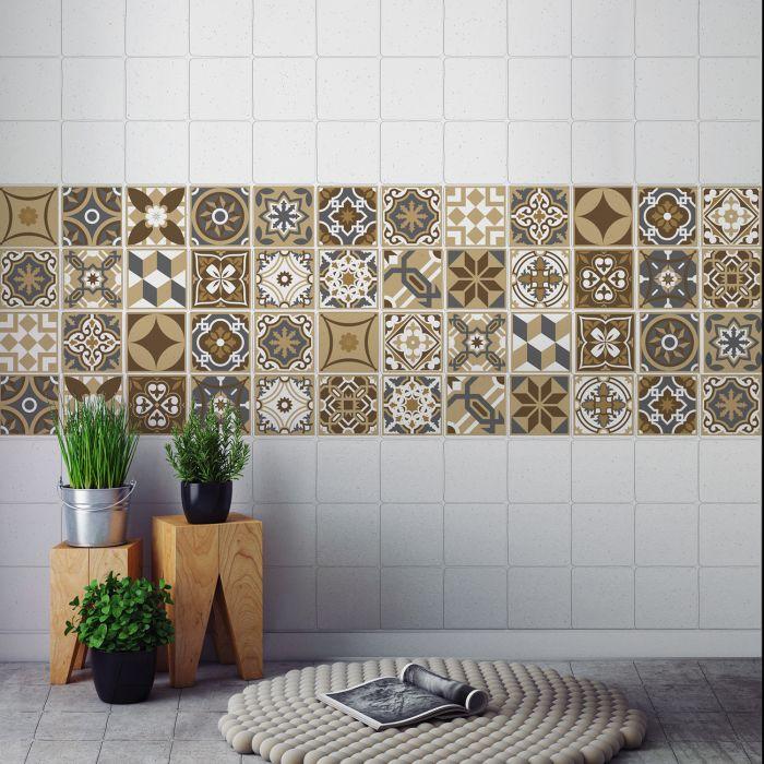 Image for Dark Bronze Tiles Wall Stickers - 10 cm x 10 cm - 24 pcs