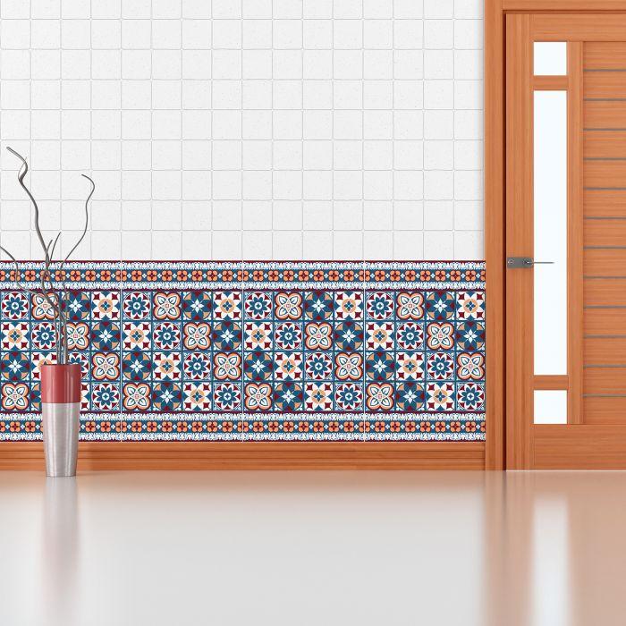 Image for Red & Blue Talavera Tiles - 10 cm x 10 cm - 24 pcs