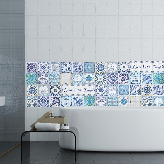 Image for English Quote Vintage Blue Tile Sticker - 10 cm x 10 cm - 24 pcs