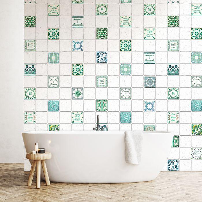 Image for English Quote Vintage Green Tile Sticker - 10 cm x 10 cm - 24 pcs