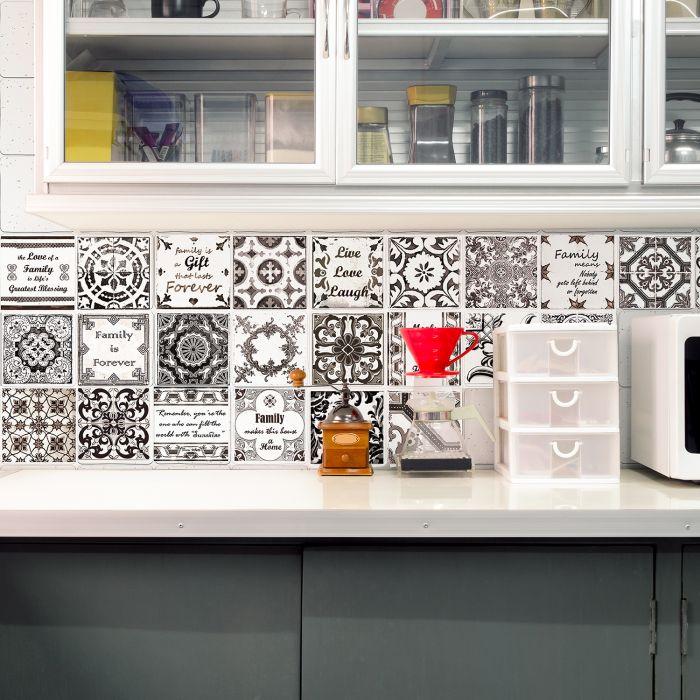 Image for English Quote Retro Brown Tile Sticker - 10 cm x 10 cm - 24 pcs