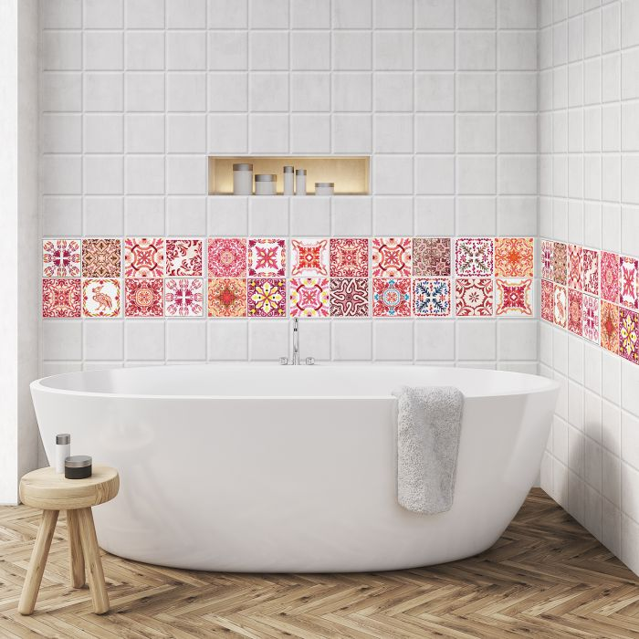Image for Moroccan Rose Red Mosaic Tile Sticker - 10 cm x 10 cm - 24 pcs