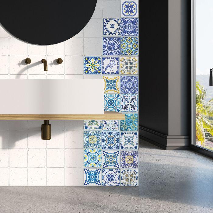 Image for Mediterranean  Skye Classic Blue Mosaic Tile Sticker - 10 cm x 10 cm - 24 pcs