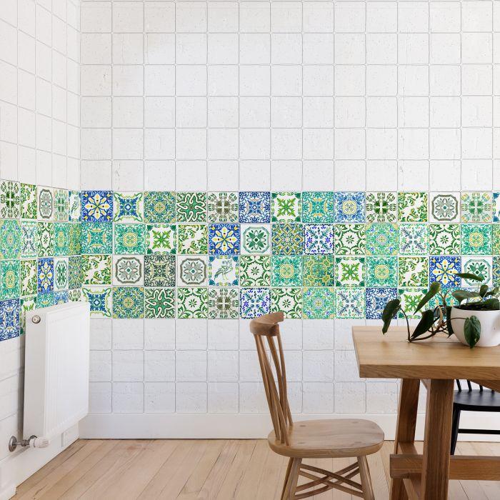 Image for Turkish Green Mosaic Tile Sticker - 10 cm x 10 cm - 24 pcs