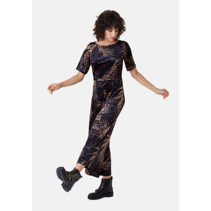 Image for Bianca Animal Print Velvet Jumpsuit in Black and Red
