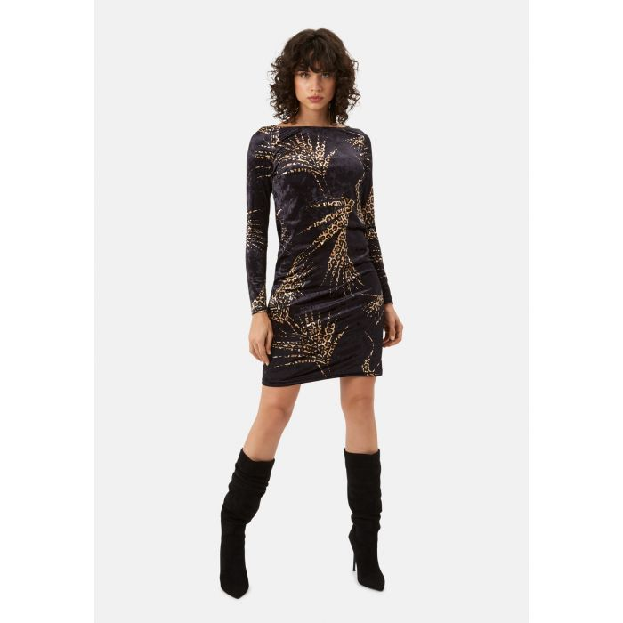 Image for Wild Side Sink Velvet Leopard Print Dress in Black