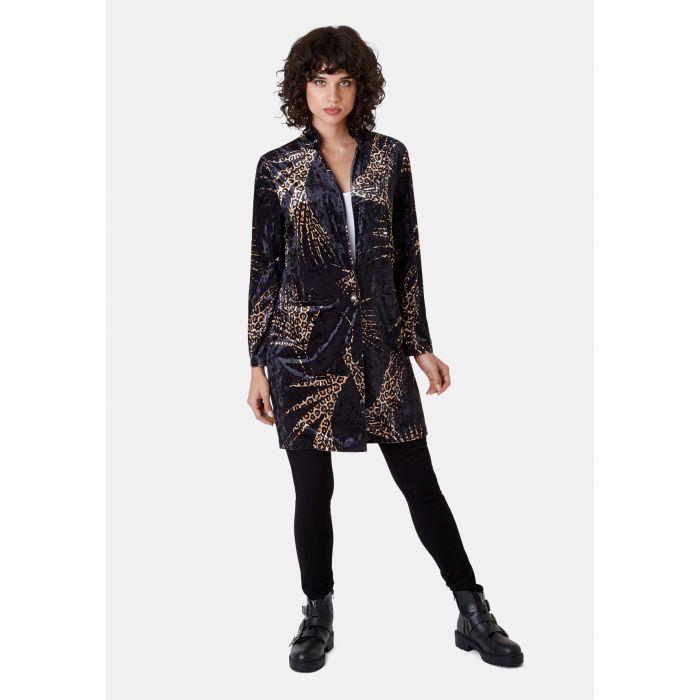 Image for Don Animal Print Velvet Jacket in Black and Gold