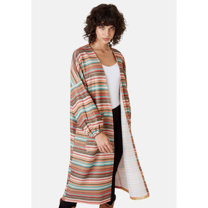 Image for Striped Long Sleeved Shrug Jacket in Multicoloured