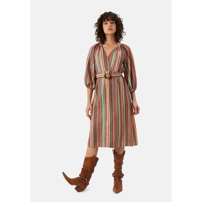 Image for Belt Up multi-coloured midi wrap dress