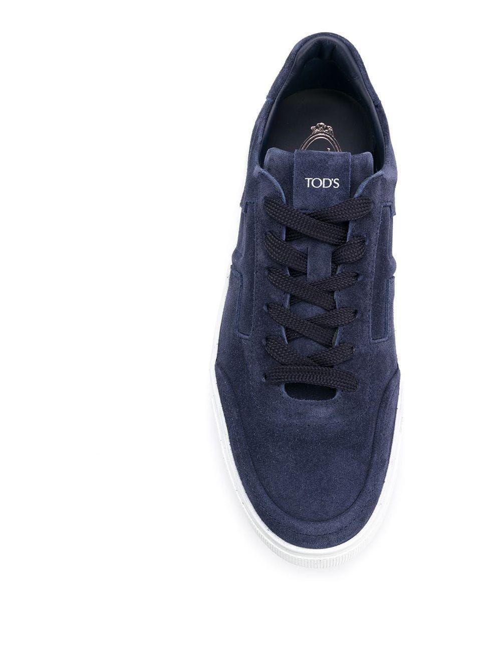 TOD'S MEN'S XXM0XY0AY40RE0U820 BLUE SUEDE SNEAKERS