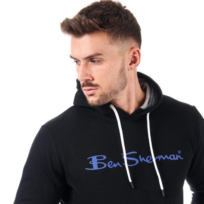 Men's Ben Sherman Large Logo Hoody in Black