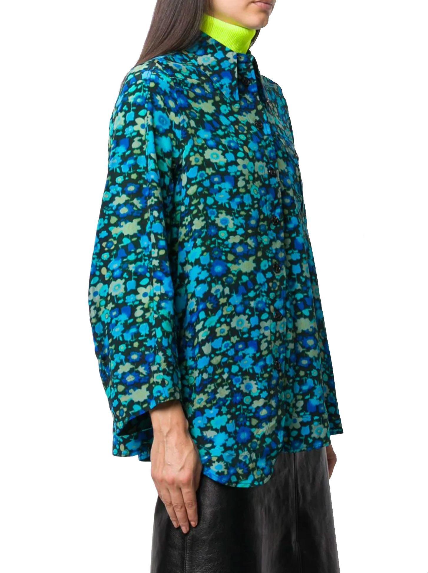 GANNI WOMEN'S F3887697 BLUE VISCOSE SHIRT