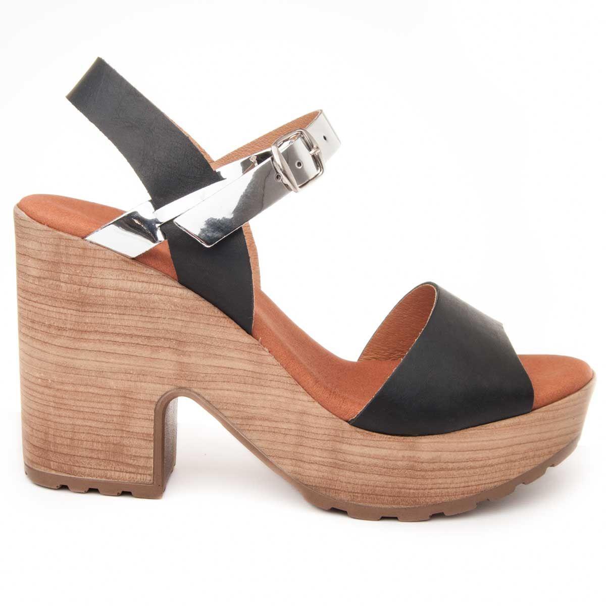 Purapiel Heel Sandal in Black