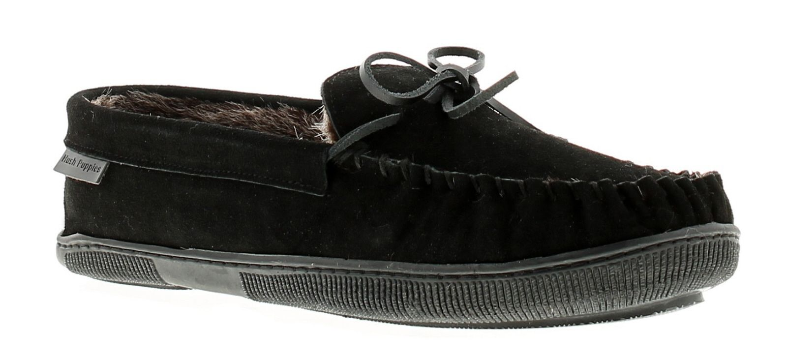 Mens Real Suede  Mocassin Slipper With Cosy Faux Fur Lining And Sock With A Flexible Hardwearing Sol