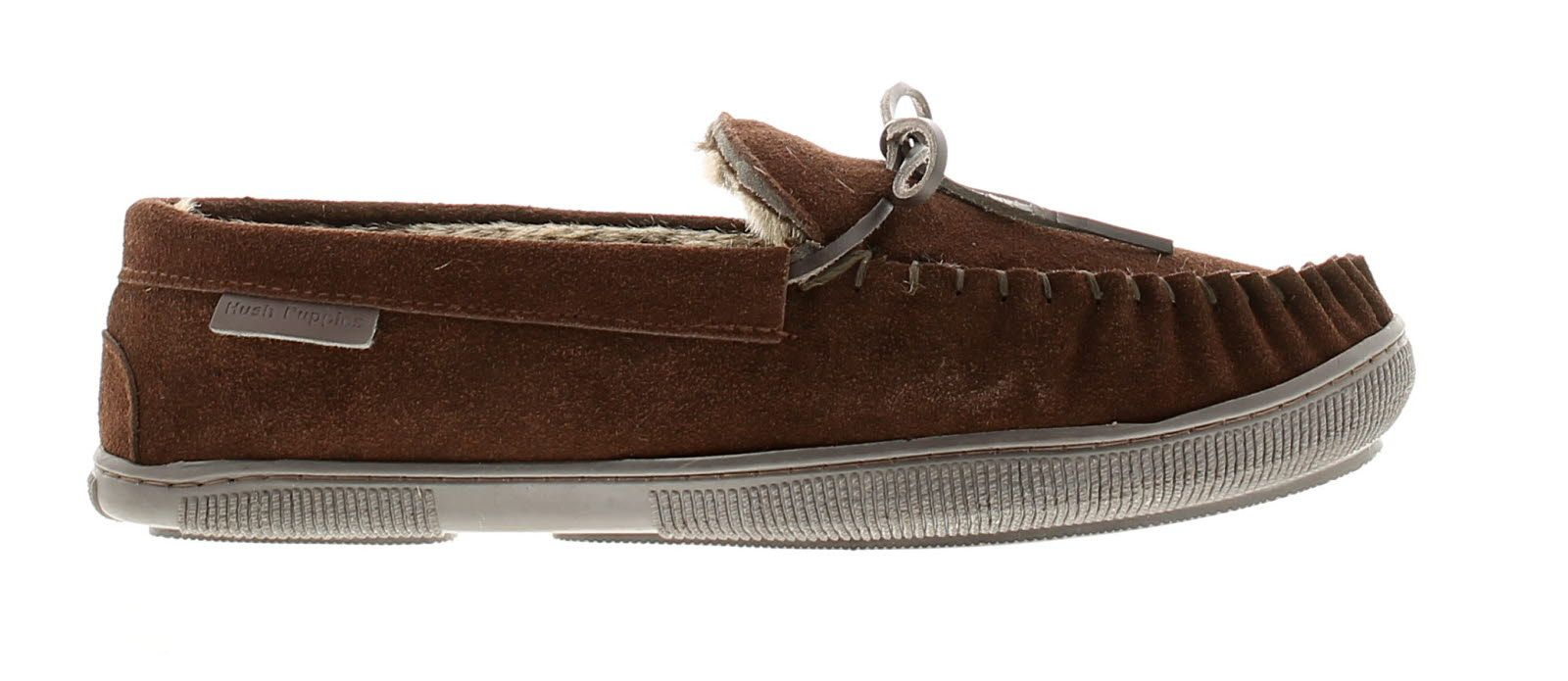 Hush Puppies ace leather mens full slippers chocolate