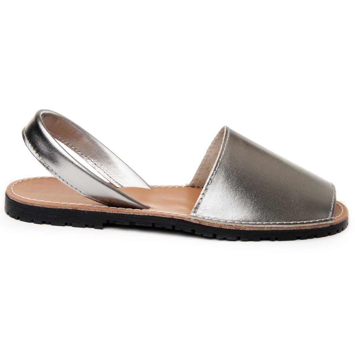 Purapiel Slingback Flat Sandal in Silver