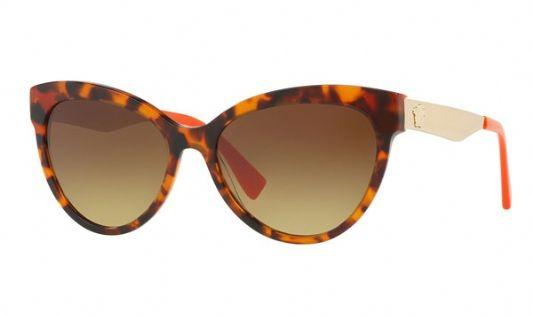 Versace Cat eye plastic Women Sunglasses Havana / Orange / Brown Gradient