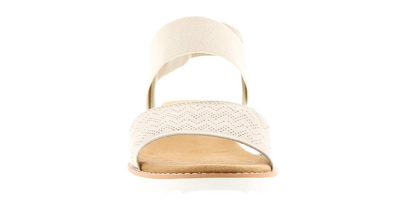 Skechers Desert Kiss Womens Wedge Sandals Off White 1 1/4 Inch Built In Heel
