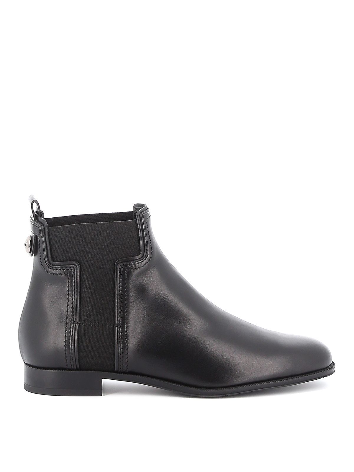 TOD'S WOMEN'S XXW73B0BR70GOCB999 BLACK LEATHER ANKLE BOOTS