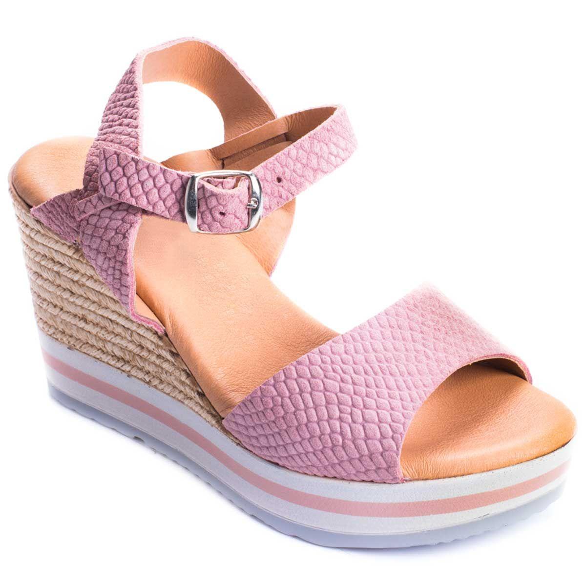 Purapiel Ankle Strap Wedge Espadrille in Pink