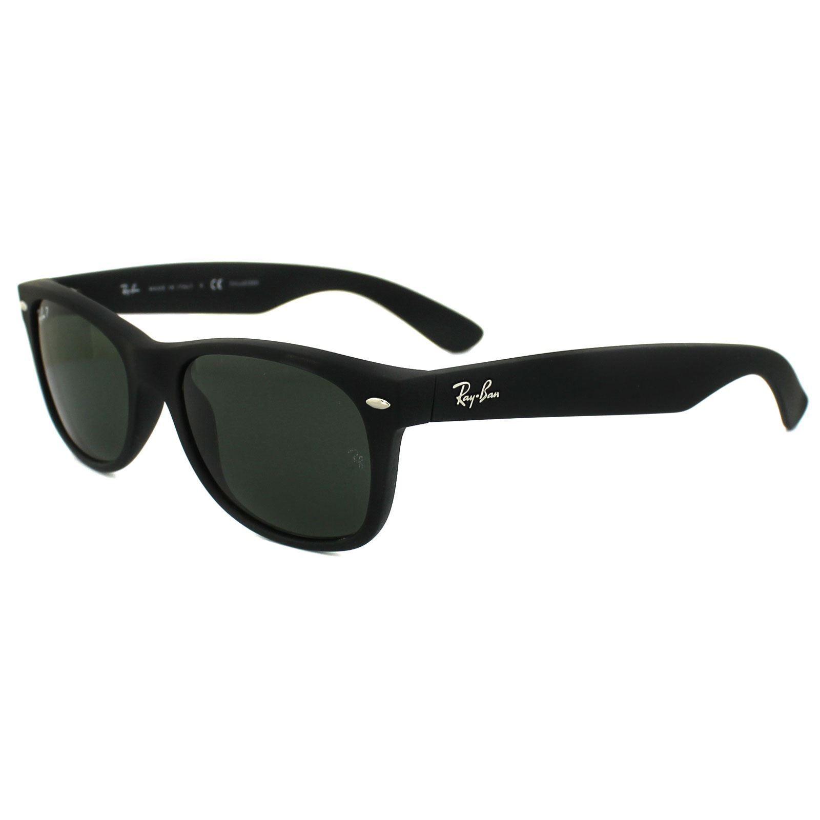 Ray-Ban Sunglasses New Wayfarer 2132 622/58 Rubber Black Green Polarized 52mm