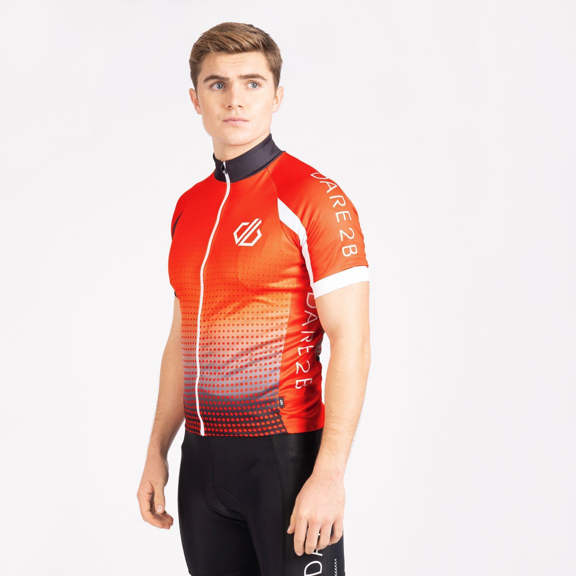 Dare 2B Mens Virtuosity Short-Sleeved Jersey (Trail Blaze Red/White/Black Gradient)