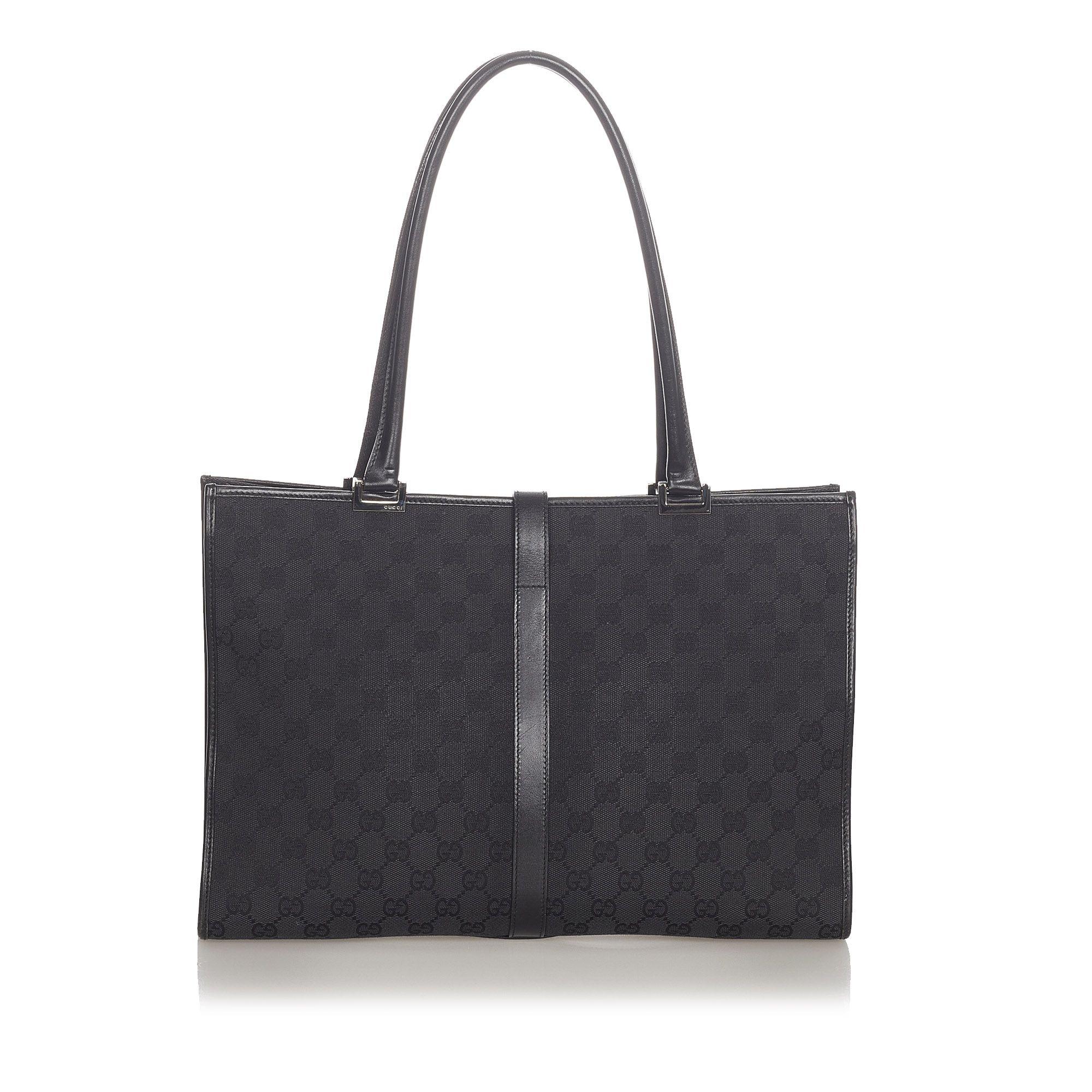 Vintage Gucci GG Canvas New Jackie Tote Bag Black