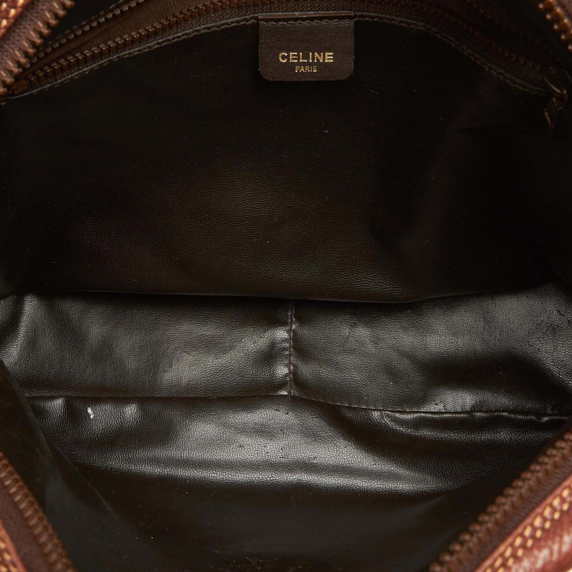 Vintage Celine Leather Crossbody Bag Brown