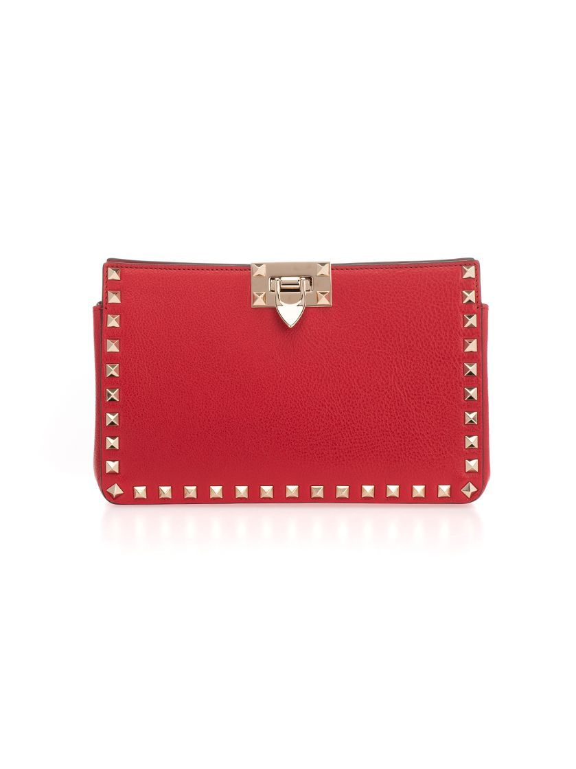 VALENTINO GARAVANI WOMEN'S TW2B0F82GHFJU5 RED LEATHER POUCH