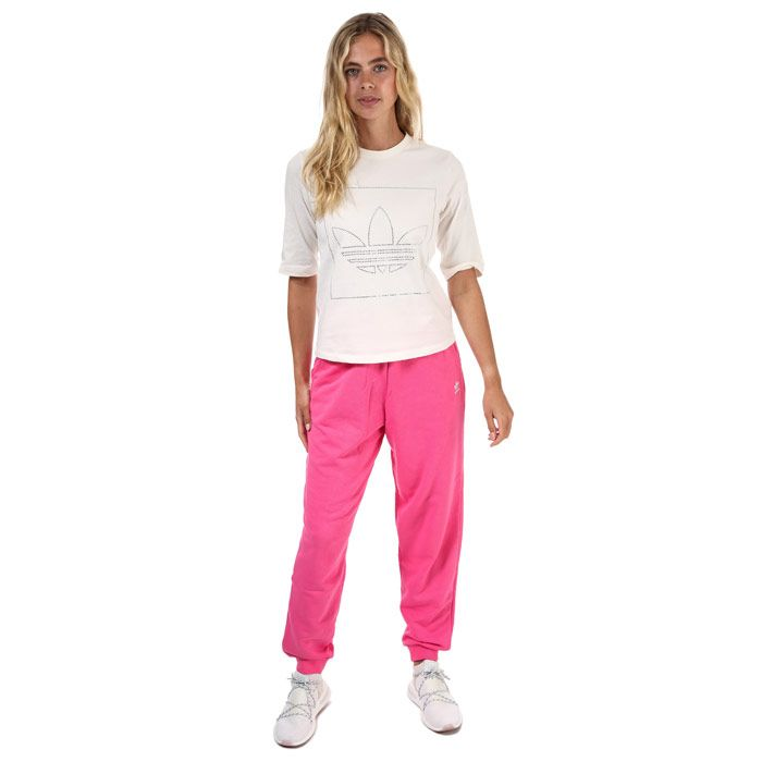 Women's adidas Originals Trefoil Essentials Cuffed Joggers in Pink