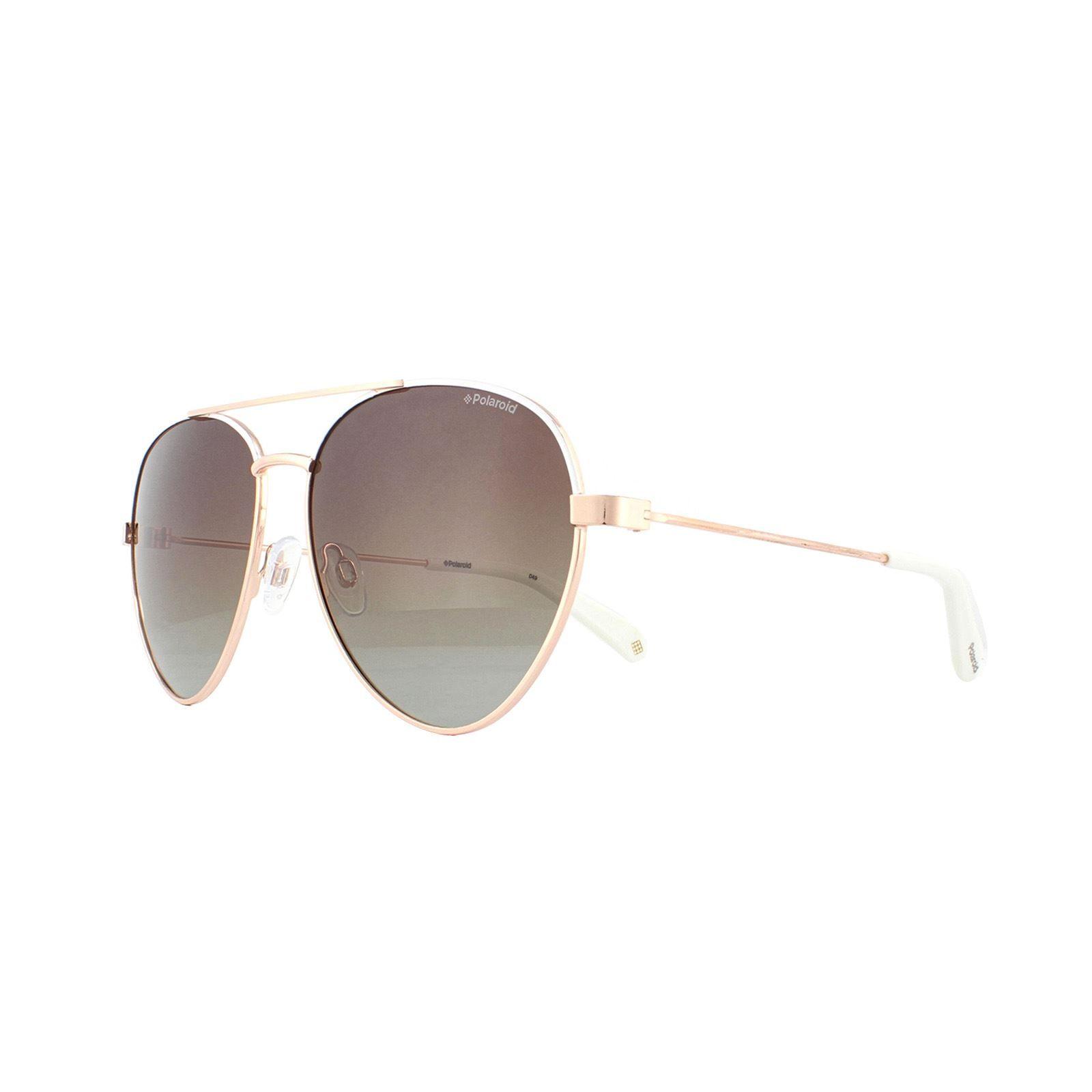 Polaroid Sunglasses PLD 6055/S VK6 LA White Brown Gradient Polarized