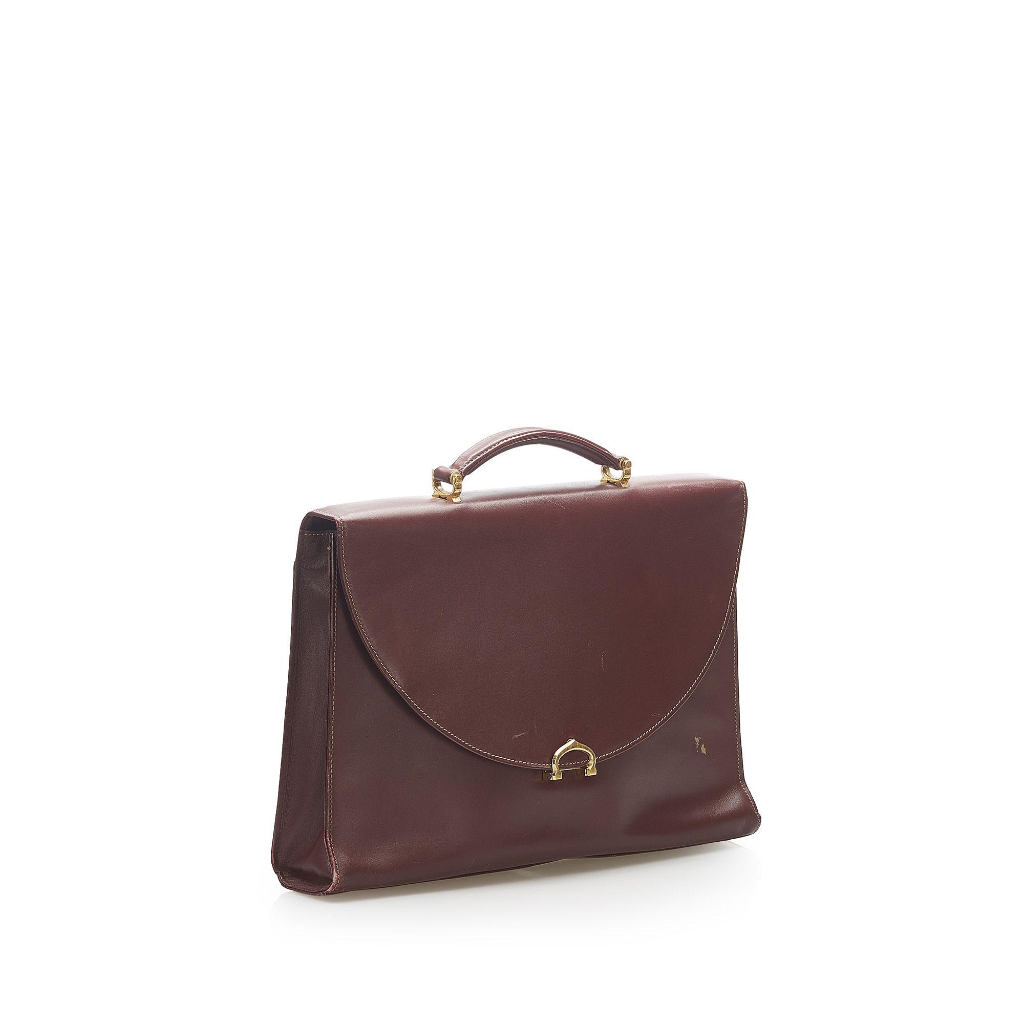 Vintage Cartier Must De Cartier Leather Business Bag Red