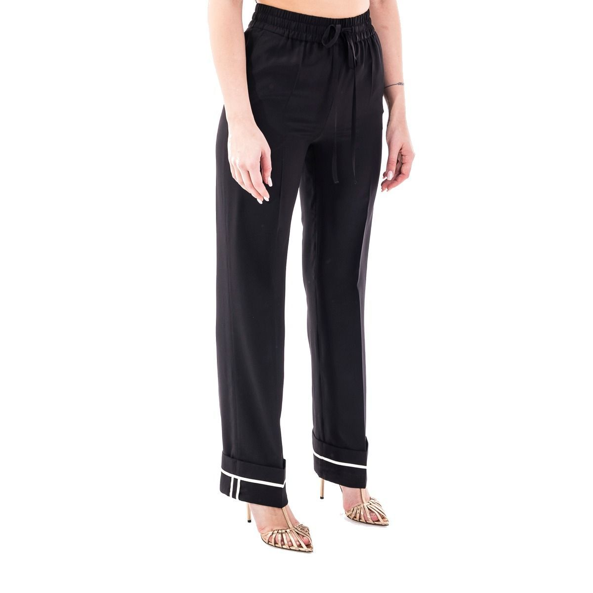 RED VALENTINO WOMEN'S TR0RBC2023H0NO BLACK SILK PANTS