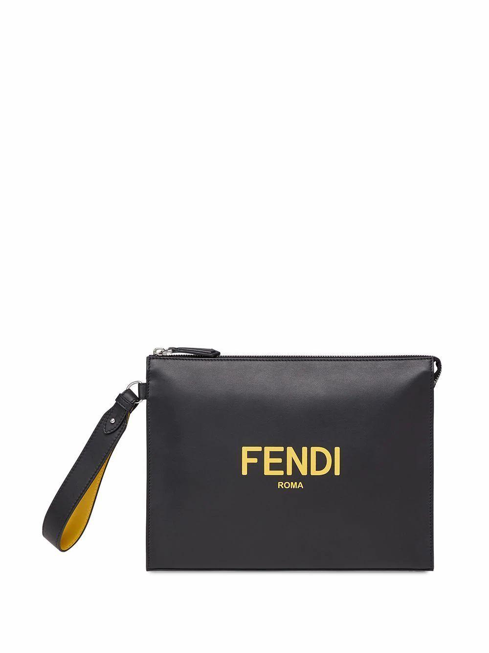 FENDI MEN'S 7VA491ADM8F0R2A BLACK LEATHER POUCH