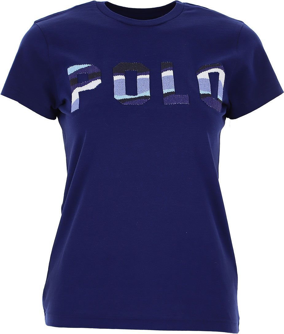 RALPH LAUREN WOMEN'S 211784466002 BLUE COTTON T-SHIRT