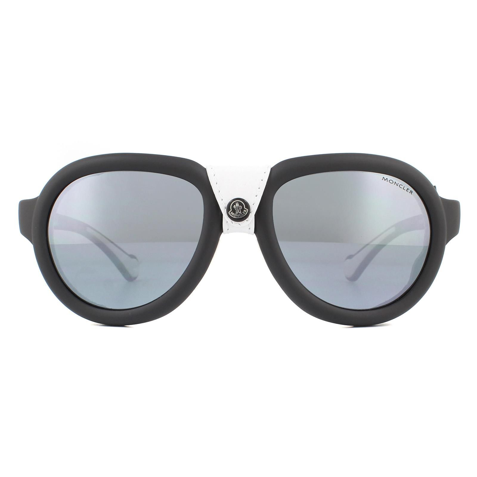 Moncler Sunglasses ML0090 02D Matte Black White Grey Polarized