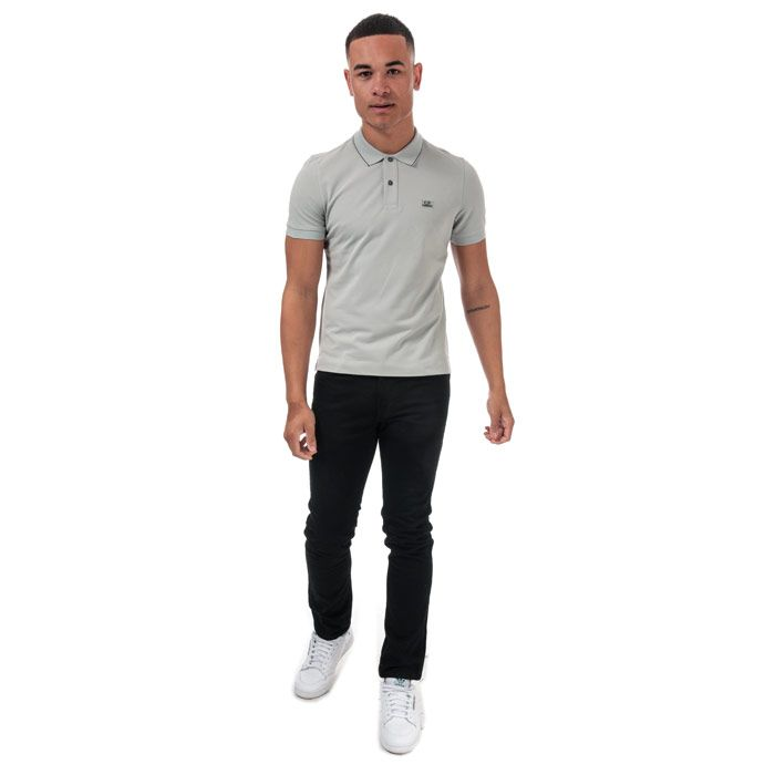 Men's C.P. Company Stretch Pique Polo in Grey